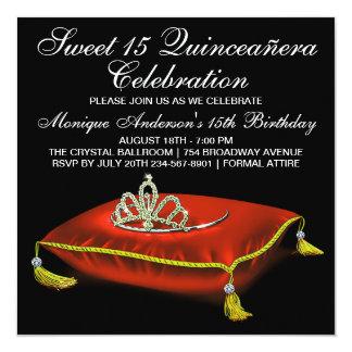Red Black Gold Tiara Sweet 15  Quinceanera Custom Announcements