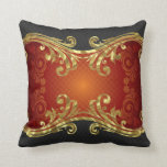 Red Black & Gold Tones Vintage Swirls Design Pillow