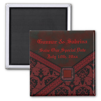 Red & Black Goth Lace Wedding Magnet