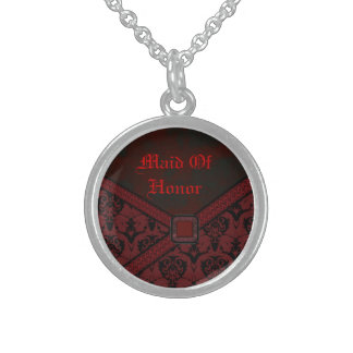 Red & Black Goth Lace Wedding Sterling Silver Necklace