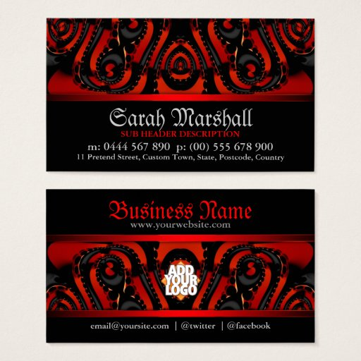 Red Black Gothic Tribal w/ Logo Business Card