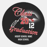 "Red black graduation ""class of"" announcement classic round sticker"