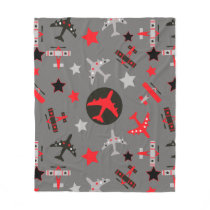 Red Black Gray Airplanes Pattern Fleece Blanket