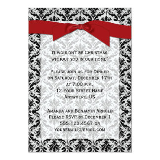 Red Black Gray Damask Christmas Party Invite