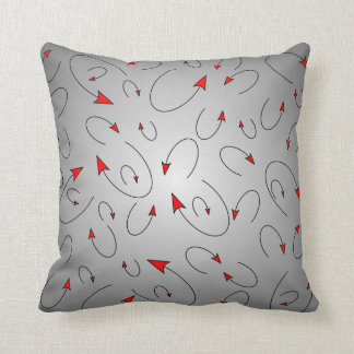 Red Black Gray Devil Tail Throw Pillow.