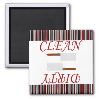 Red Black & Gray Striped Clean or Dirty Dishwasher Magnet