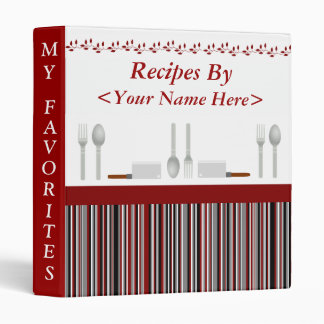 Red Black & Gray Striped Personalized Recipe 3 Ring Binders