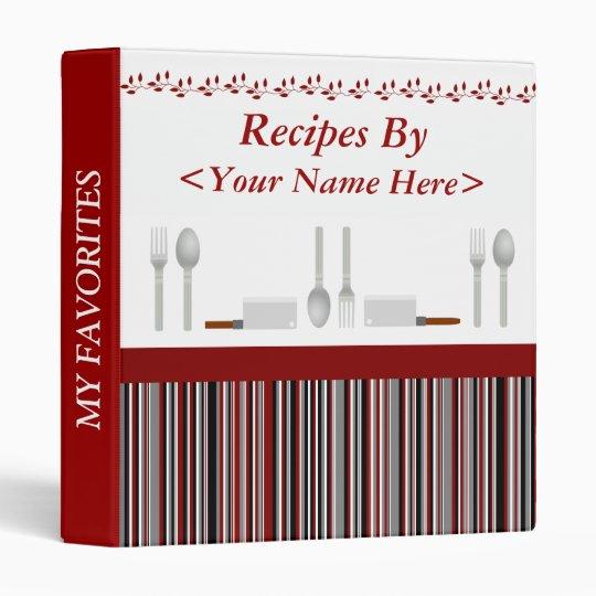 Red Black & Gray Striped Personalized Recipe Binder