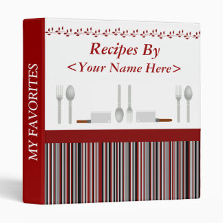 Red Black & Gray Striped Personalized Recipe Vinyl Binder