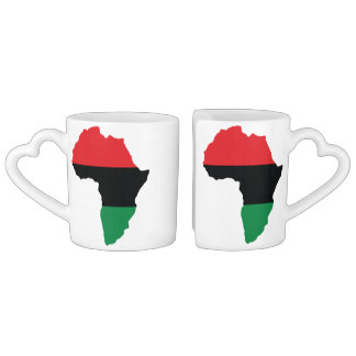 Red, Black & Green Africa Flag Coffee Mug Set