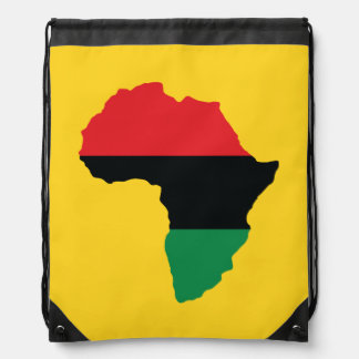 Red, Black & Green Africa Flag Drawstring Backpack