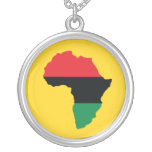Red, Black & Green Africa Flag Round Pendant Necklace