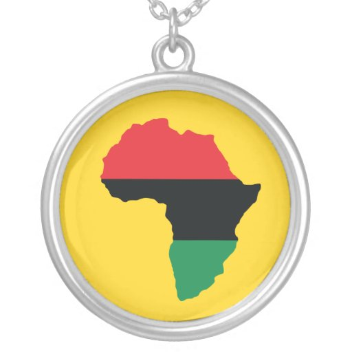 Red black green africa flag round pendant necklace zazzle for Red black and green jewelry