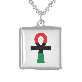 Red, Black & Green Ankh Square Pendant Necklace