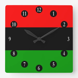 Red, Black, Green Pan African Flag, White Numbers Square Wall Clock