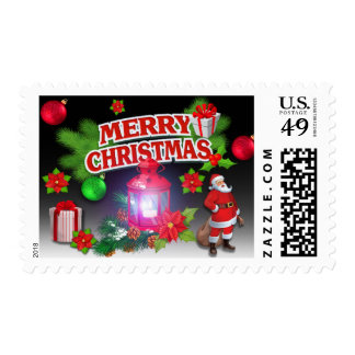 Red Black Green  Santa Poinsettia Postage Stamps