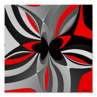 Red Black Grey Abstract Print