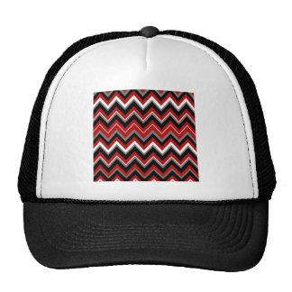 Red Black Grey and White Zig Zag Pattern Trucker Hats
