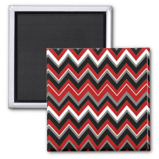Red Black Grey and White Zig Zag Pattern Magnet