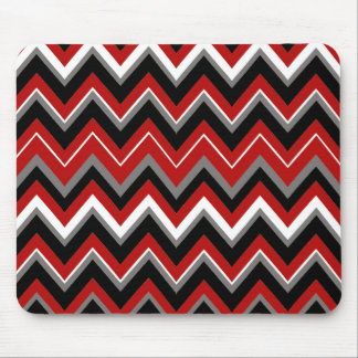 Red Black Grey and White Zig Zag Pattern Mouse Pad