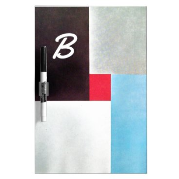 Professional Business RED BLACK GREY BLUE ABSTRACT SQUARES MONOGRAM Dry-Erase BOARD