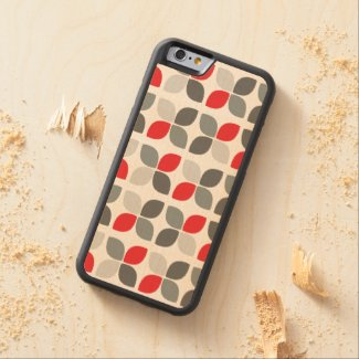 Red Black Grey Modern Floral Pattern Carved® Maple iPhone 6 Bumper