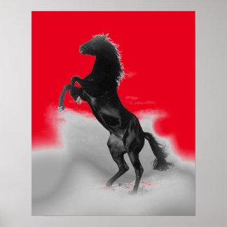 Red Black Grey Rearing Horse Pop Art Poster