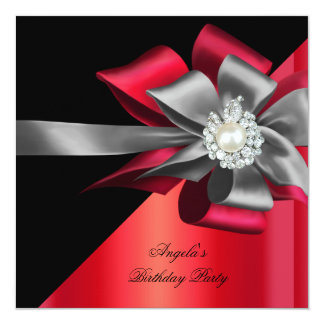 Red Black Grey Silver Bow Pearl Birthday Party 2 Card