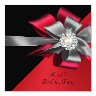 Red Black Grey Silver Bow Pearl Birthday Party Card