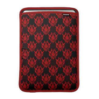 Red black guipure  chic damask  pattern MacBook sleeve