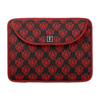 Red black guipure  chic damask  pattern sleeves for MacBook pro