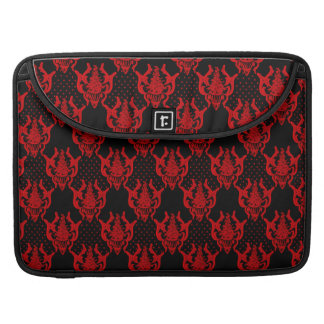 Red black guipure  chic damask  pattern sleeve for MacBook pro