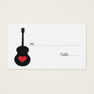 Red/Black Guitar Heart Place Card