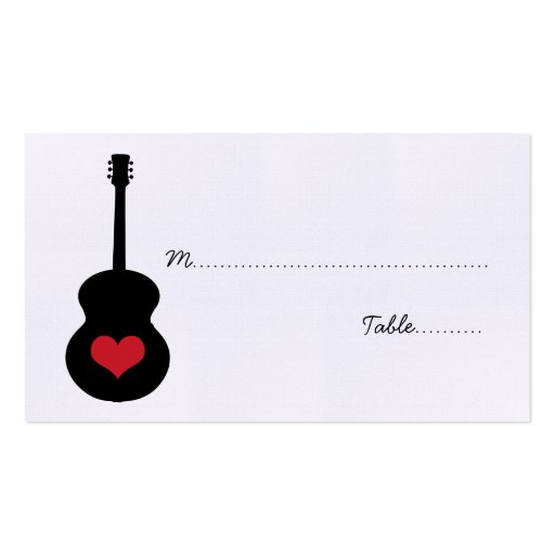 Red/Black Guitar Heart Place Card Double-Sided Standard Business Cards (Pack Of 100)