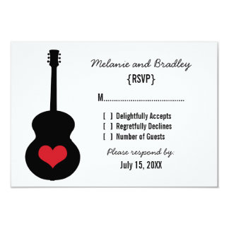 "Red/Black Guitar Heart Response Card 3.5"" X 5"" Invitation Card"