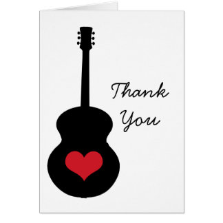Red/Black Guitar Heart Thank You Card