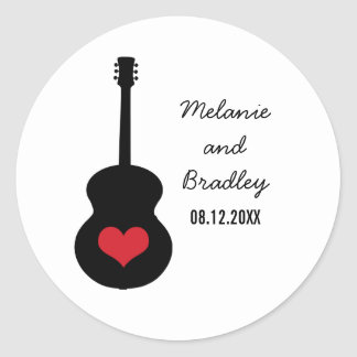 Red/Black Guitar Heart Wedding Stickers