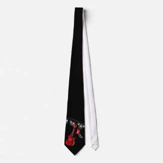 Red Black Guitar Love Music Theme Novelty Tie