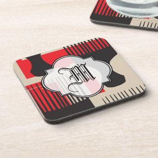 Red Black Hair Comb Afro Pick Beverage Coaster