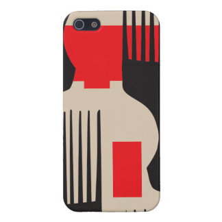 Red Black Hair Comb Afro Pick Cover For iPhone SE/5/5s