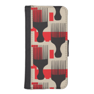 Red Black Hair Comb Afro Pick iPhone SE/5/5s Wallet Case