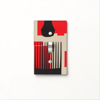 Red Black Hair Comb Afro Pick Light Switch Cover