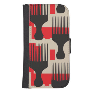 Red Black Hair Comb Afro Pick Wallet Phone Case For Samsung Galaxy S4