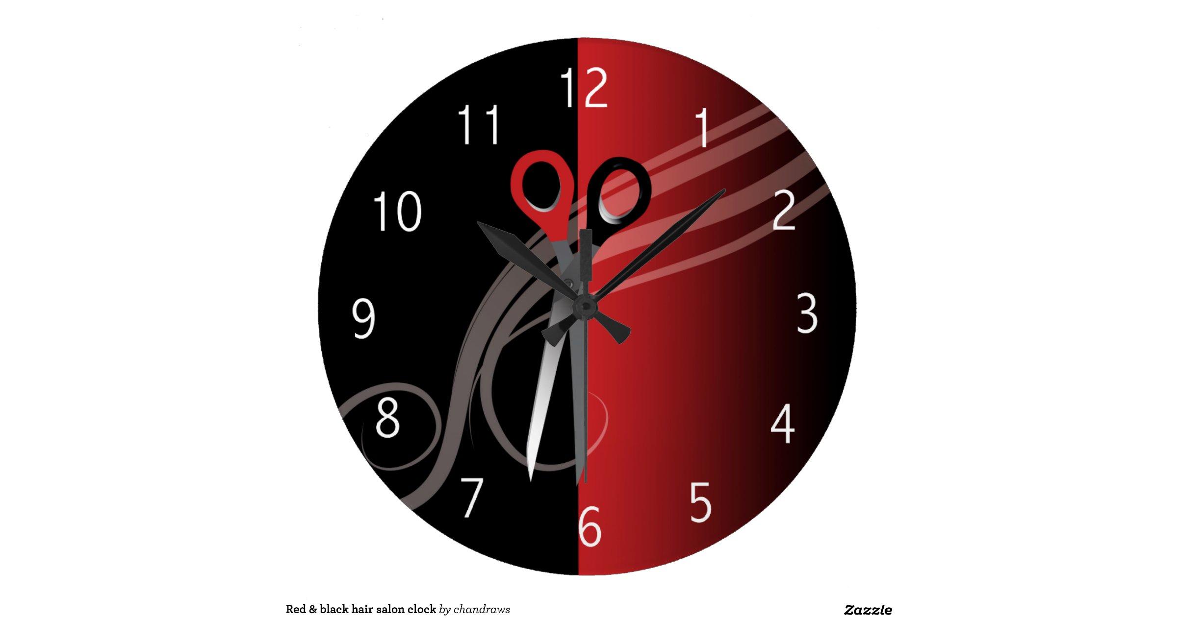 red black hair salon clock. Black Bedroom Furniture Sets. Home Design Ideas