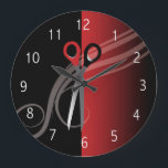 "Red &amp; black hair salon clock<br><div class=""desc"">Red &amp; black stylish clock. Perfect for your hair salon shop. Check out my other colors I have available :)</div>"