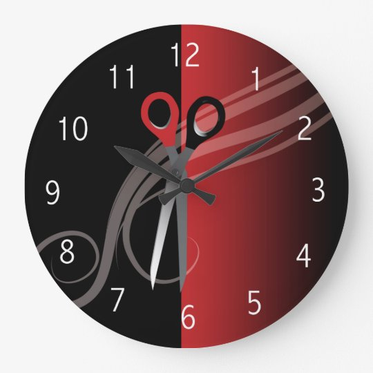 Red Black Hair Salon Clock