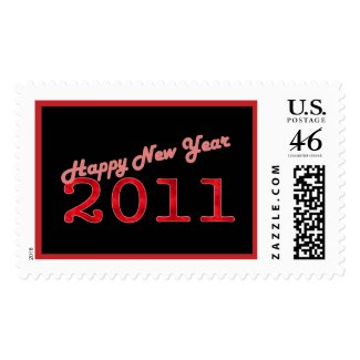 red black Happy New Year 2011 stamp
