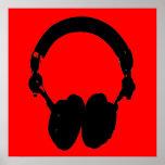 Red Black Headphone Silhouette Pop Art Poster