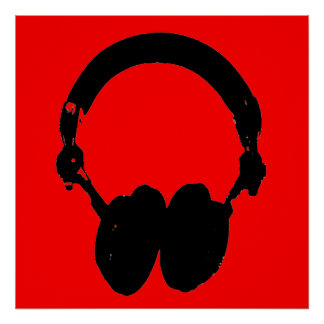 Red Black Headphone Silhouette Pop Art Poster