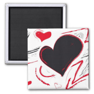 Red-Black heart abstract 2 Inch Square Magnet